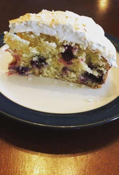 Lemon Blueberry Cake with Meringue Frosting