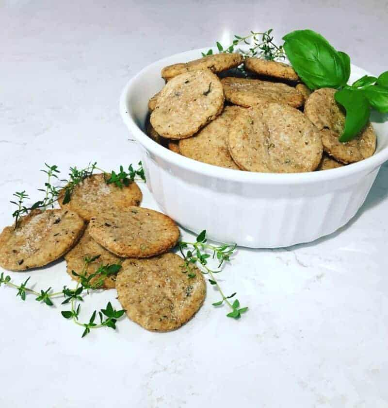 sourdough discard crackers with mixed herbs