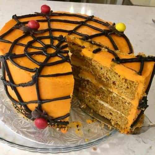 spiderweb pumpkin layer cake