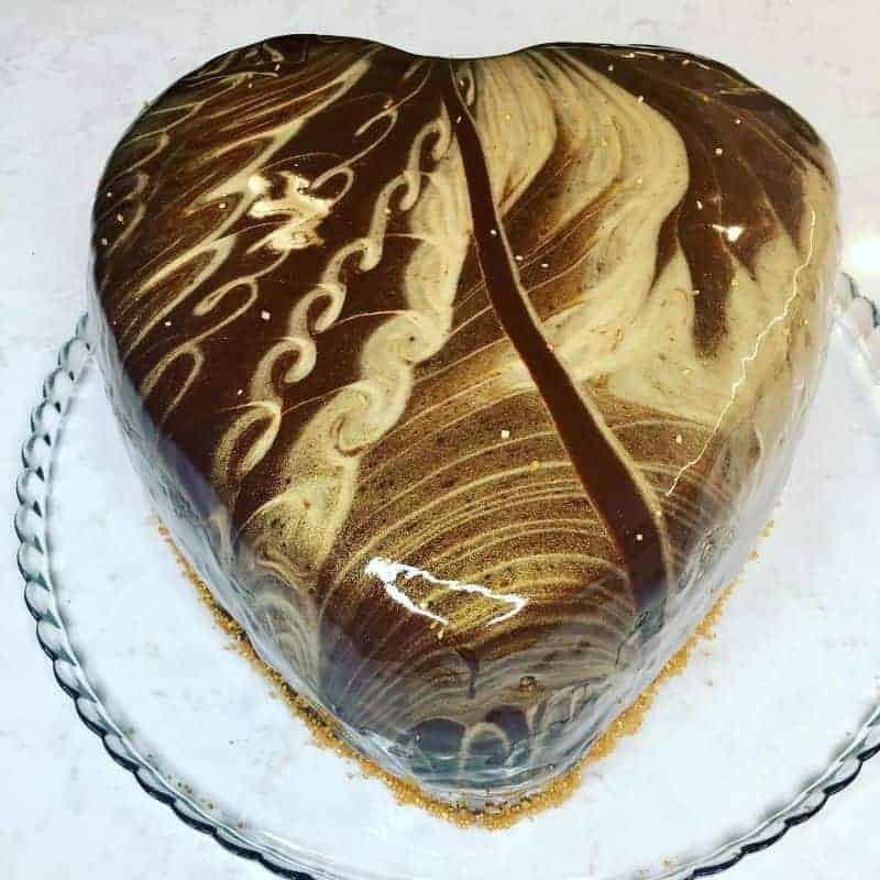 chocolate hazelnut mirror glaze cake