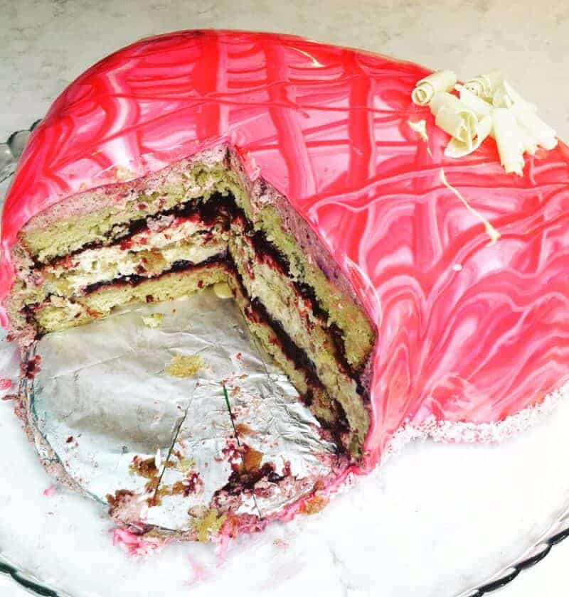 cherry almond mirror glaze cake