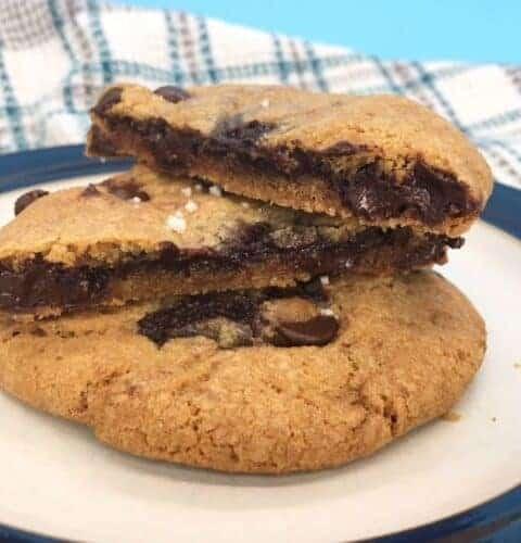 ganache stuffed chocolate chip cookies