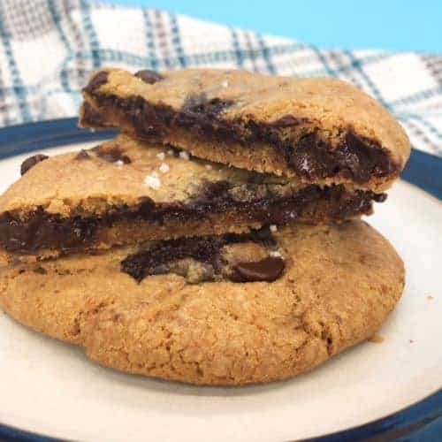ganache stuffed chocolate chip cookies