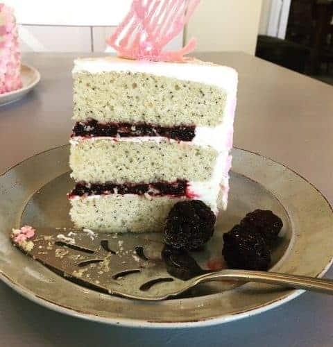 Lemon poppy seed cake with blackberry filling